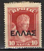 CRETA - 1909 - HERMES CON SOVRASTAMPA - OVERPRINTED - NUOVO MH