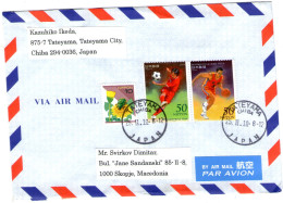 Japan Send To Macedonia Stamp Football Basketball - Airmail