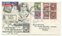 Australia - 1950 FDC Registered Via Air Mail To Antwerp - Ersttagsbelege (FDC)