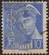 FRANCE Francia Frankreich - 1938 - Yvert 407, Mercurio, 10 Centesimi Con Macchia Di Inchiostro Oltremare, Usato - Usati