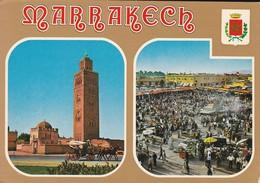 MAROC---MARRAKECH---la Koutoubia--la Place Djemaa El Fnaa---voir 2 Scans - Marrakech
