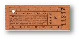 Carris De Ferro - $14,9 - Tramway Ticket - Serie P - Lisboa Portugal - Tranvías