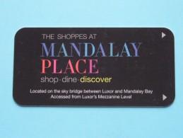 LUXOR Las VEGAS - California ( Publicity Mandalay Place / Zie Foto Voor Detail ) U.S.A. ! - Cartes D'hotel