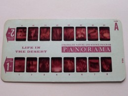 LIFE IN THE DESERT PANORAMA Card A ( Colorslide Travel Program Columbia Record Club / Zie Foto´s Voor Details ) ! - Lieux