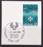 Australia 1983 St John Ambulance Centenary 27c First Day On Piece - 1980-89 Elizabeth II