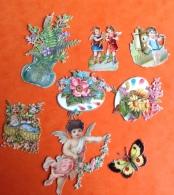 Bel Ensemble Petits Chromos Decoupis Dont Ange Palette Peinture Téléphone - Anges