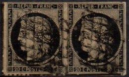 FRANCE - 20 C. Noir De 1948 Oblitéré En Paire - 1849-1850 Cérès