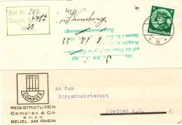 Dt. Reich 479 EF Portogenau Auf Firmen- Postkarte V. Beuel Am Rhein 1933 - Covers & Documents