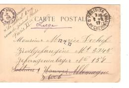 Guerre-Oorlog 14-18 PC En SM C.Paris 1917 V.prisonnier Civil à Soltau Censure Du Camp Puis Liège PR3733