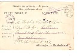 Guerre-Oorlog 14-18 CP écrite De Ste-Adresse En 1917 V.prisonnier Civil Belge à Soltau Censure Puis Liège PR3734