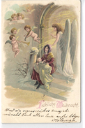 Christmas, Angels Playing Music And Singing For The Newborn Child, Old Postcard 1899 ! - Angels
