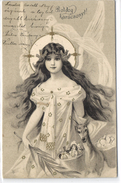 Christmas, Beautiful Angel With A Deer And Presents, Old Art Nouveau Style Postcard 1903 - Angels