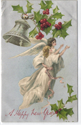 New Year, Angel Flying With A Blond Lady, Old Postcard - Angels