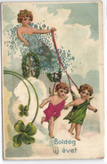 New Year, Angels Pulling A Sky Carriage, Old Embossed Postcard With Inlay - Angels