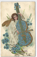 New Year, Angel Playing On A Double Bass, Old Postcard - Angels