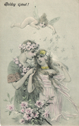 New Year, Tiny Angel With A Couple In Love, Old Postcard Pre. 1905 - Angels