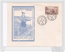 1938 - Exposition Philatélique De Nice - Oblitération Spéciale - PTT Sports Et Loisirs - Timbre YT 345 Seul - Postmark Collection (Covers)