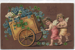 New Year, Angels Pulling A Huge Cart With Flowers And Presents, Old Embossed Postcard - Angels