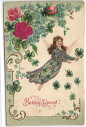 New Year, Angel Flying With Clovers, Old Embossed Postcard Pre. 1905 - Angels