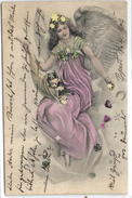 New Year, Angel With Tiny Pigs, Mushrooms, Clovers And Horseshoes In Her Horn, Beautiful Old Postcard 1904 - Angels