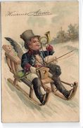 New Year, Angel Boy On A Sled With A Horn, Beautiful Old Embossed Postcard - Angels