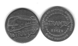Jeton  Transports En Commun - Stationnement  Grand Besançon  ( 25 )  Le  Tramway  N° 55625  Recto  Verso - Frankrijk
