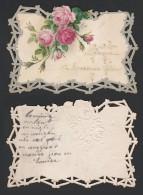 Mignonette Gaufrée Roses En Relief 11.5 X 8 Cm - Nouvel An