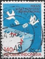 INDONESIA 1988 International Correspondence Week - 140r Doves And Envelopes  FU