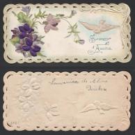 Mignonette Gaufrée Ajoutis Tissu Sur Fleurs (probable Soie )  13 X 6 Cm - Fêtes - Voeux