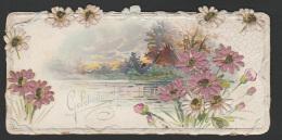 Mignonette Gaufrée Ajoutis Tissu Sur Roses (probable Soie )  13.5 X 6.5 Cm - Fêtes - Voeux
