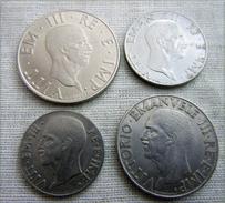 WW2 COIN, FASCIST DUX Mussolini , 1939-1942 Italian Complet SET 4 COINS 1940 - 1861-1946 : Kingdom