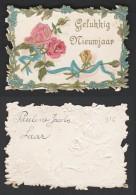 Mignonette Gaufrée  Roses En Relief  7.5 X 5.5 Cm - Nouvel An