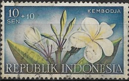 INDONESIA 1957 Various Charity Funds. Floral Designs -10s.+10s - Kembodja (Plumeria Acuminata) FU