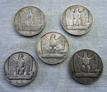 WW2 COIN, FASCIST DUX Mussolini , 1926-1930 Italian Complet SET 5 COINS SILVER 2 RARE 1926-1928 - 1861-1946 : Kingdom