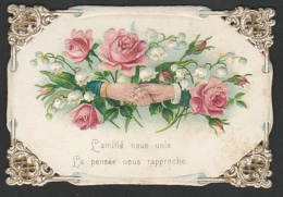 Mignonette Gaufrée Roses En Relief  5 X 7.5 Cm - Fêtes - Voeux