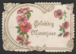 Mignonette Gaufrée Fleurs En Relief  5 X 7.5 Cm - Nouvel An