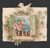 Mignonette Gaufrée Roses Et Pigeons En Relief  5 X 6.5 Cm - Fêtes - Voeux