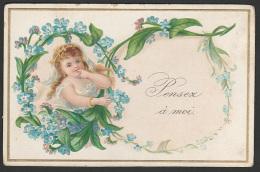 Mignonette Gaufrée Enfant Et Fleurs En Relief  11 X 7 Cm - Fêtes - Voeux