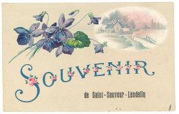 Cpa Souvenir De Saint-Sauveur Lendelin ( Fantaisie Fleurs ) - France