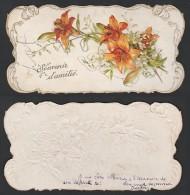 Mignonette Gaufrée Fleurs En Relief  12.5 X 6.5 Cm - Nouvel An