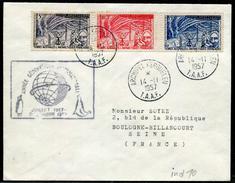 T.A.A.F. -  N° 8 À 10 / LETTRE OBL. KERGUELEN LE 14/11/1957 AVEC CACHET SPECIAL ANNÉE GÉOPHYSIQUE - TB - Covers & Documents
