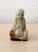 MAGNIFIQUE PETIT BOUDDHA RIEUR EN PIERRE DURE - KARMA TRES POSITIF - Art Asiatique
