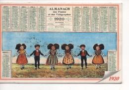 Les Calendriers Du Second Empire à La Vème République - ALMANACH Des Postes  Des Télégraphes 1920, Mini Calendrier 2000 - Calendari
