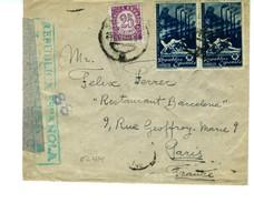 GUERRA CIVIL  Carta  Franqueada 2,75p OBREROS DE SAGUNTO Hasta Francia     EL414