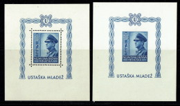 1943  2è Ann. De La Croatie  Blocs-feuillets Dentelé Et Non  MiNr Bloc 4A, 4B ** - Croatie