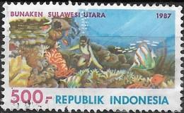 INDONESIA 1987 Tourism -  500r. - Sea Gardens, Bunaken Island  FU