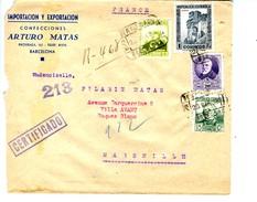 GUERRA CIVIL   Carta Certificada   23MAR38  Franqueada 1,95p Envez De 2,20 Hasta Paris        EL419 - 1931-Today: 2nd Rep - ... Juan Carlos I