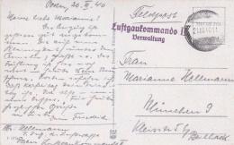Feldpost WW2: Postcard Posen, Wilhelmplatz (now Poznan, Poland) From Luftgaukommando II (Verwaltung) P/m 21.3.1940  (T1- - Militaria