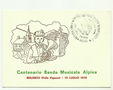 1978 - Italia - Cartolina Commemorativa Del Centenario Della Banda Musicale Di Malesco 2/8 - Cartoline