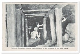 Staatsmijn Emma Zuid Limburg, Werkzaamheden Op Een Kolenpost Op 410 Meter Diepte - Mijnen